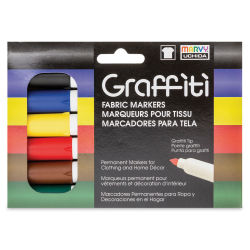 Marvy Uchida Graffiti Fabric Markers - Set of 6, Primary Colors