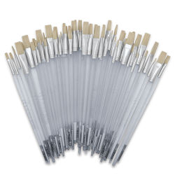 Royal Langnickel Clear Choice Brush Set - White Bristle, Flat, Set of 60, Long Handle