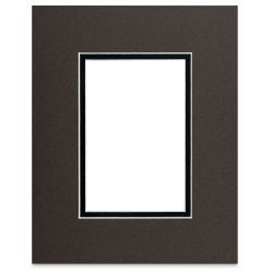 Blick Double Mat - Cinder over Smooth Black, 8'' x 10'' (4'' x 6'' opening)