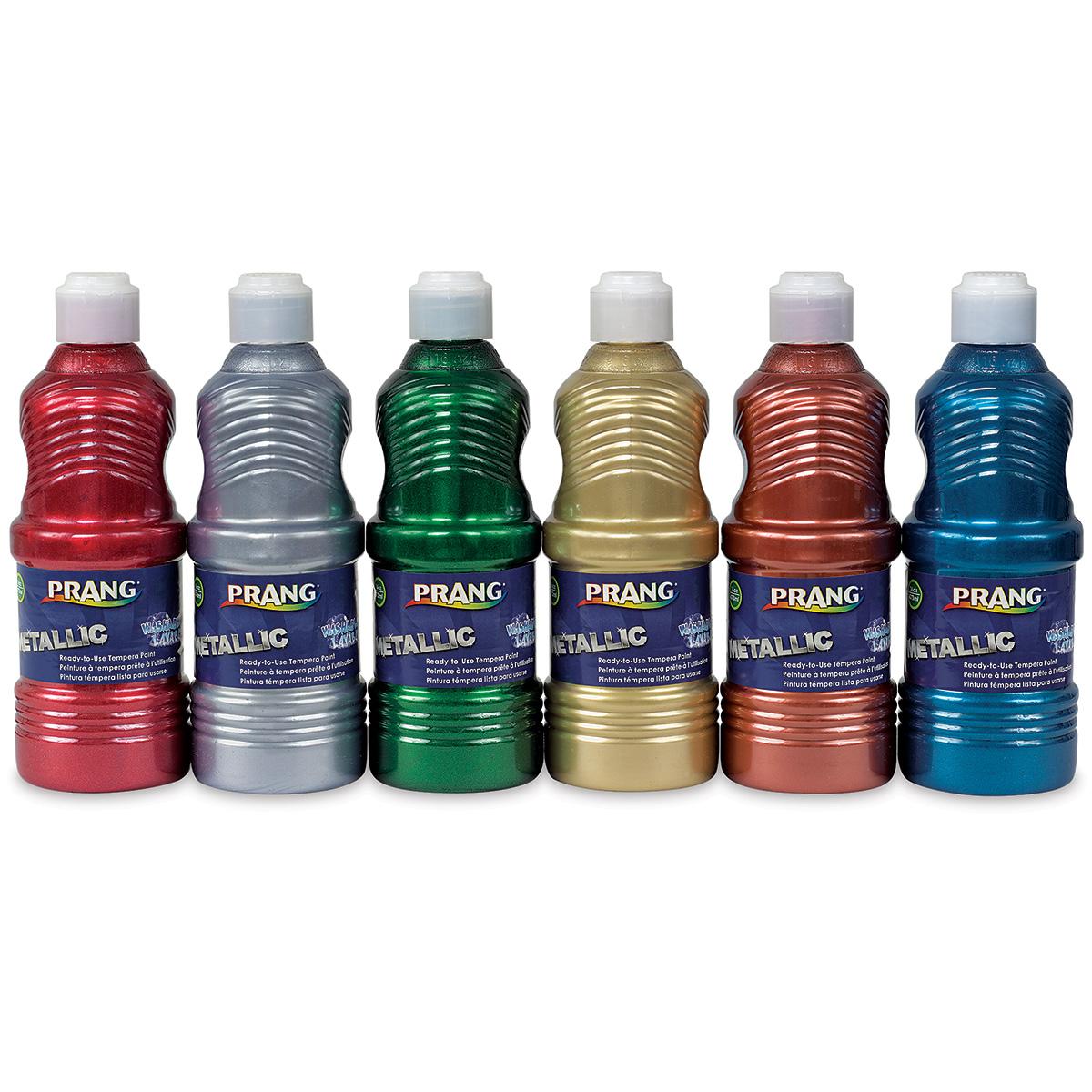 Prang Ready-To-Use Washable Tempera Paints - Metallics, Set of 6 colors, 16 oz bottles