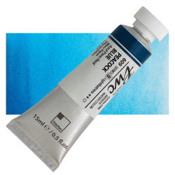 PWC Extra Fine Professional Watercolor - Peacock Blue, 15 ml, Swatch with Tube