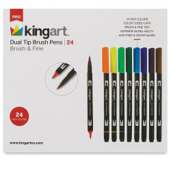 Kingart Dual Tip Brush Pen Set - Set of 24 (front of package)