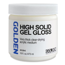 Golden High Solid Gel Medium - Gloss, 16 oz jar