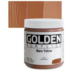 Golden Heavy Body Artist Acrylics - Mars Yellow, 8 oz jar