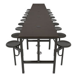 OFM Endure Tables with Attached Stools - 20 Seats, Dry-Erase Top, Walnut Seats, 231''L