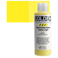 Golden Fluid Acrylics - Benzimidazolone Yellow Light, 4 oz bottle