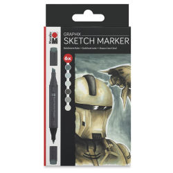 Marabu Graphix Sketch Markers - Alpha Robot, Set of 6