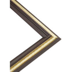 Blick Classique Wood Frame - 9'' x 12'' x 3/8'', Brushed Walnut/Gold Leaf Band