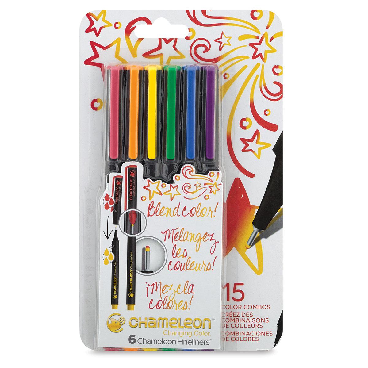 CHAMELEON Fineliner Pens 12 Assorted Bright Colours