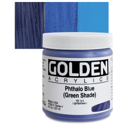 Golden Heavy Body Artist Acrylics - Phthalo Blue (Green Shade), 8 oz Jar