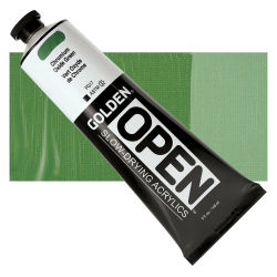 Golden Open Acrylics - Chromium Oxide Green, 5 oz, Tube with Swatch