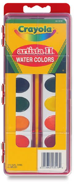 Crayola Artista II Semi-Moist Watercolor Pans - Oval, Set of 16 assorted colors