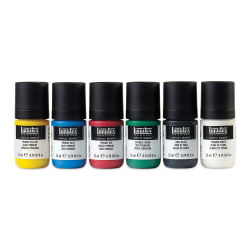 Liquitex Professional Acrylic Gouache - Essential Set of 12. Row of six paint jars.