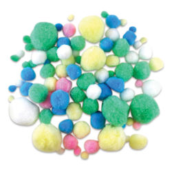 Krafty Kids Pom Poms - Pastel Colors, Assorted Sizes, Package of 90