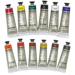 Blick Artist's Acrylic Paints - Assorted 12 Color Set, 2 oz tubes.  Two rows of 6 tubes, unpackaged.