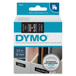 Dymo Label Maker Refill Tape - White Font, Black Background, 23 ft.