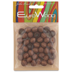 John Bead Euro Wood Beads - Dark Brown, Round Large Hole, 12 mm x 9.8 mm, Pkg of 40