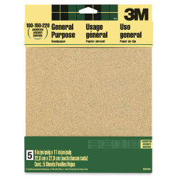 "3M Production Sandpaper - Assorted Grit, 9"" x 11"", Pkg of 5"