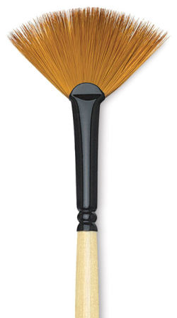 Dynasty Black Gold Brush - Fan, Long Handle, Size 4