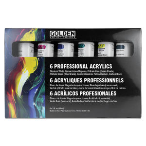 Golden Heavy Body Artist Acrylic Set - Principal Set, Assorted Colors, Set of 6, 2 oz tubes. In package.