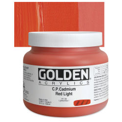 Golden Heavy Body Artist Acrylics - Cadmium Red Light, 32 oz Jar
