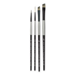 Dynasty Black Silver Synthetic Brushes - Set 2, Pkg of 4