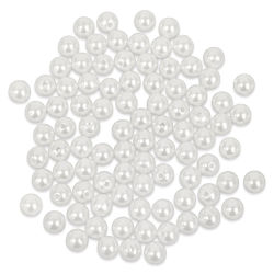 Craft Medley Pearl Acrylic Beads - White, 8 mm, Package of 80