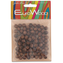 John Bead Euro Wood Beads - Dark Brown, Round, 8 mm, Pkg of 100