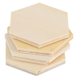 Unfinished Wood Coasters - Hexagon, Pkg of 4