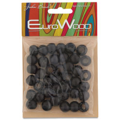John Bead Euro Wood Beads - Black, Round Large Hole, 12 mm x 9.8 mm, Pkg of 40