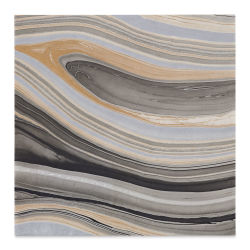 "Black Ink Thai Marbled Mulberry Paper - 12"" x 12"", Black/Gold/Silver"
