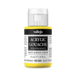 Vallejo Acrylic Gouache - Gold Yellow, 35 ml