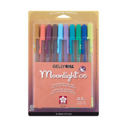Sakura Gelly Roll Moonlight Pens - Pastel and Dark Colors, Set of 10, Fine Point