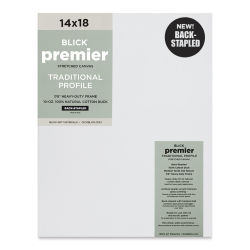 "Blick Premier Cotton Canvas - Back-Stapled, 7/8"" Traditional Profile, 14"" x 18"""