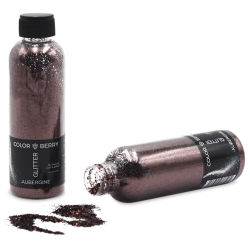 Colorberry Glitter - Aubergine, Chunky, 90 grams, Bottle (Glitter shown in and out of bottle)