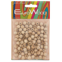 John Bead Euro Wood Beads - Natural, Round, 8 mm, Pkg of 100