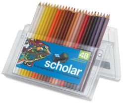 Prismacolor Scholar Art Pencils, Set of 48.  Package open easel-style with one row of pencils.