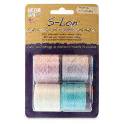 Beadsmith S-Lon Cord Pack - Pkg of 4, Tropical Colors