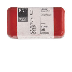 R&F Encaustic Paint Block - Cadmium Red Deep, 40 ml block