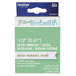 Brother P-Touch Embellish Satin Ribbon - Gold on White