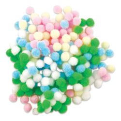 "Krafty Kids Pom Poms - Pastel Colors, 3/8"", Mini, Package of 200"