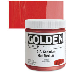 Golden Heavy Body Artist Acrylics - Cadmium Red Medium, 8 oz Jar