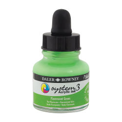 Daler-Rowney System 3 Acrylic Ink - Fluorescent Green, 1 oz