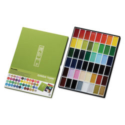 Kuretake Gansai Tambi Watercolor Paint Pan - Set of 48, Assorted Colors