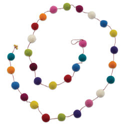 Giftsland Felt Pom Pom Garland - Assorted Colors, Large, 6 ft