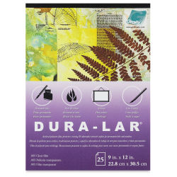 Grafix Dura-Lar Clear Acetate Alternative - 9'' x 12'' x .005'', Pad, 25 Sheets