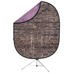 Savage Reversible Collapsible Backdrop Kit - Grunge Brick and Purple, 5' x 7'