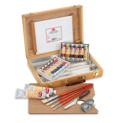 Utrecht Artists' Oil Paint Set - Wood Box Set, 14 colors, twelve 37 ml tubes, two 150 ml tubes