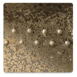 Amaco Potter's Choice Glazes - Vintage Gold, PC-9. Color sample of light-dark color texturing.