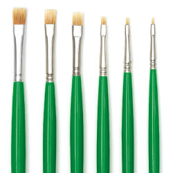 Blick Economy Golden Nylon Brush Set - Bright, Long Handle, Set of 6